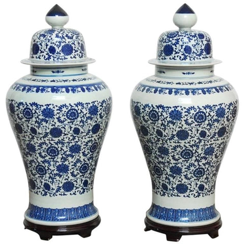 Pair of Chinese Blue and White Porcelain Temple Ginger Jars
