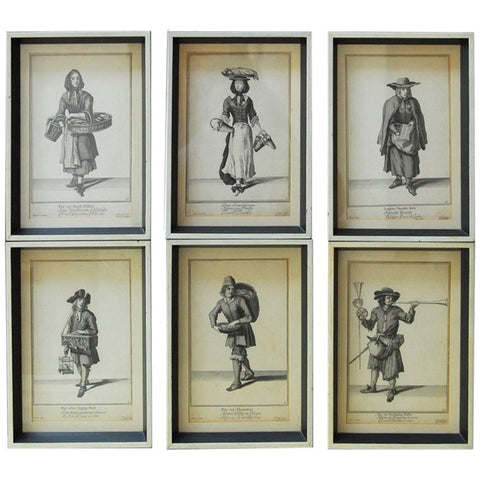 Set of Six Framed Engravings Cries of London, 1688