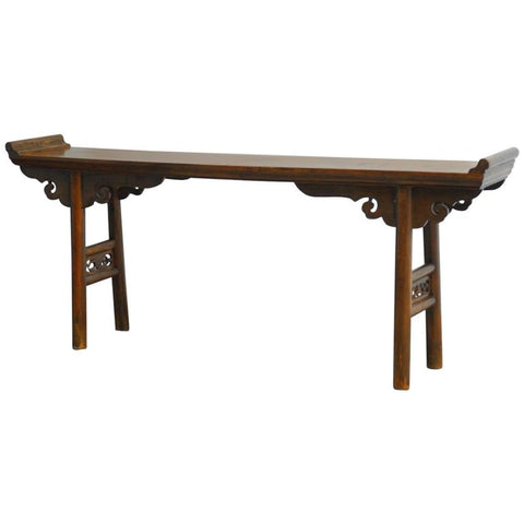19th Century Chinese Elm Altar Table Console