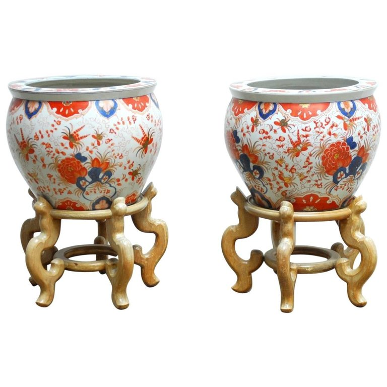 Pair of Chinese Porcelain Fish Bowls on Stands for Gumps
