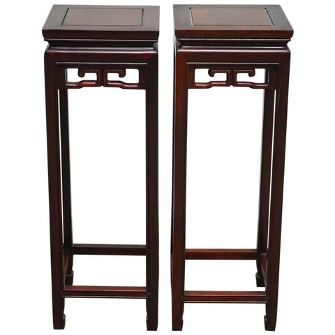 Pair of Chinese Rosewood Carved Plant Stand Pedestals