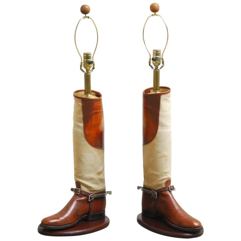 Important Pair of Equestrian Riding Boots Mounted as Table Lamps
