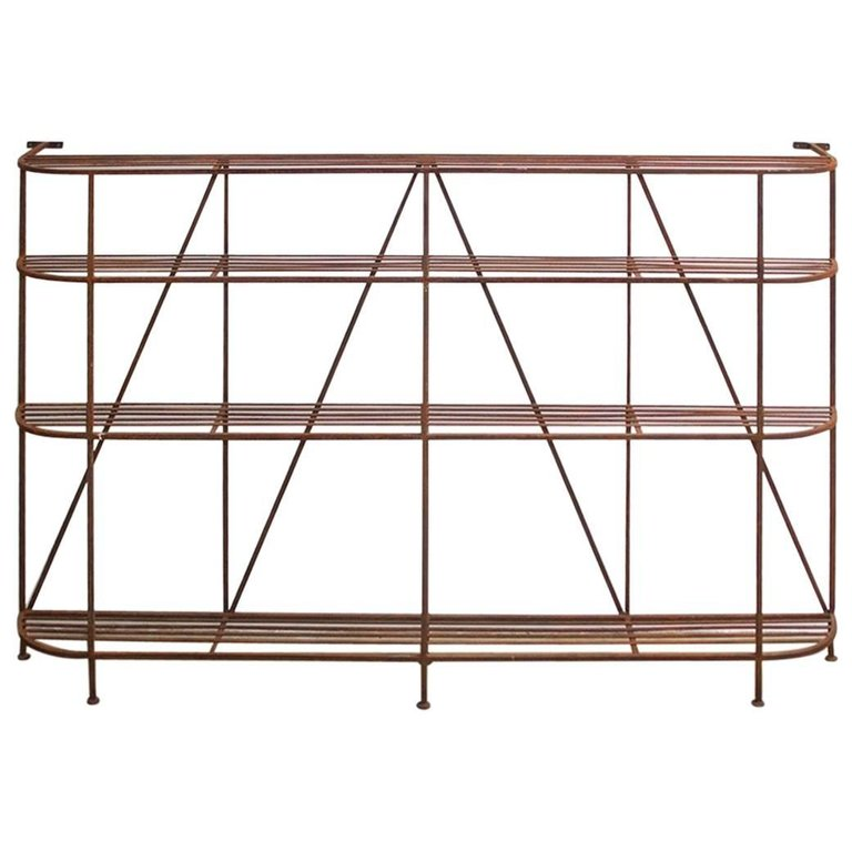 French Art Deco Iron Display Shelf or Baker's Rack