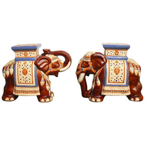 Pair of Ceramic Elephant Garden Stools or Drink Tables