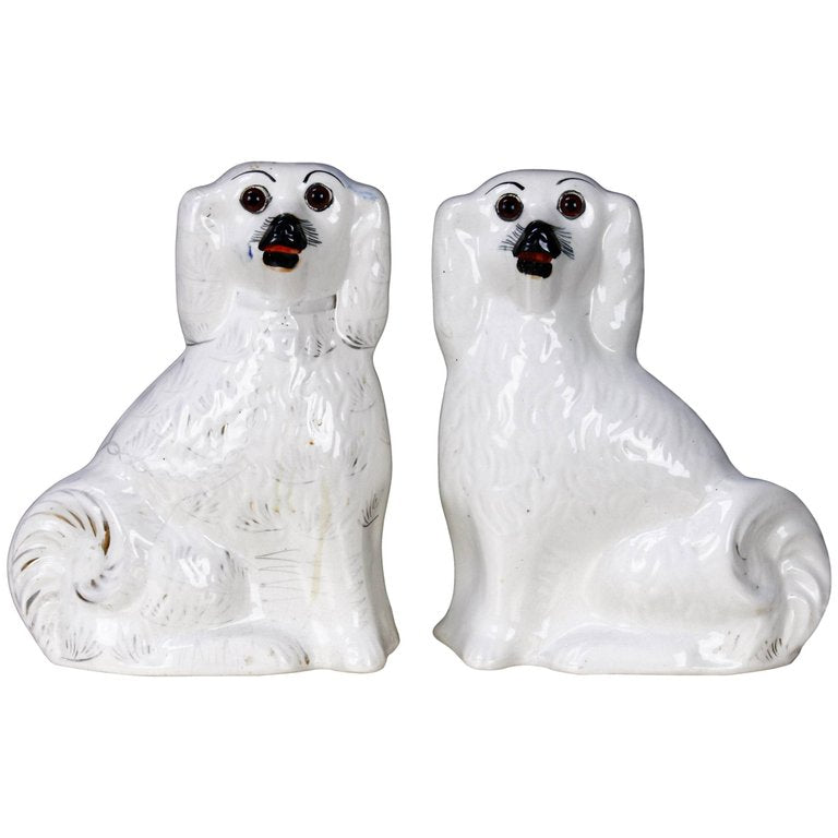 Pair of English Staffordshire Glazed Ceramic Dogs