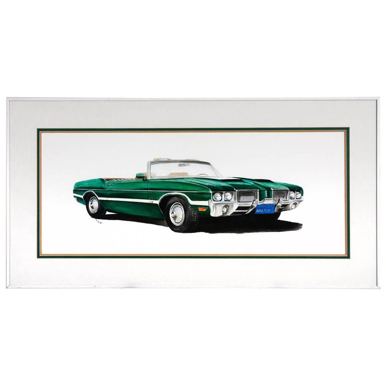 Green Olds 442 Muscle Car Original Americana Watercolor