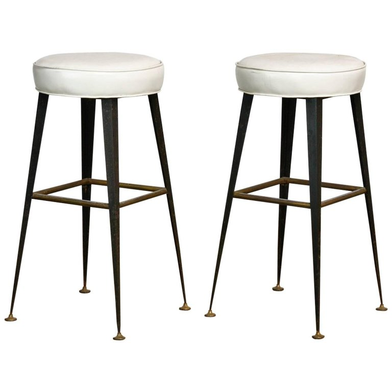 Pair of Mid-Century Industrial Iron and Vinyl Barstools