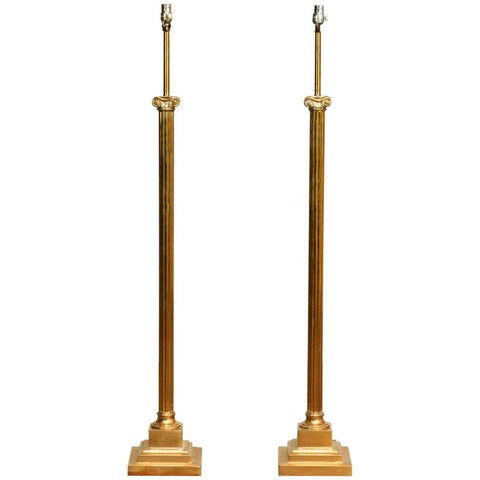 Pair of Neoclassical Fluted Brass Column Floor Lamps