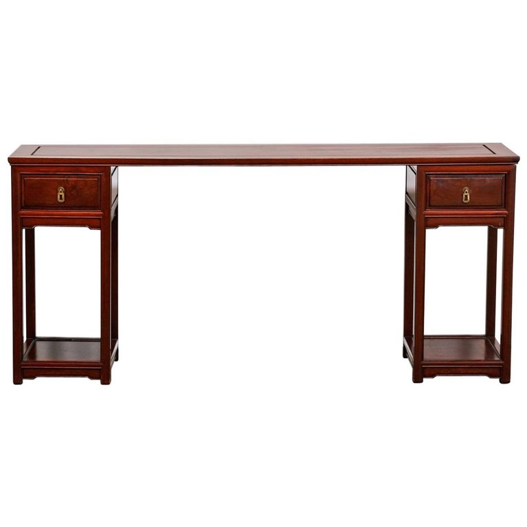 Midcentury Chinese Rosewood Three Part Pedestal Desk
