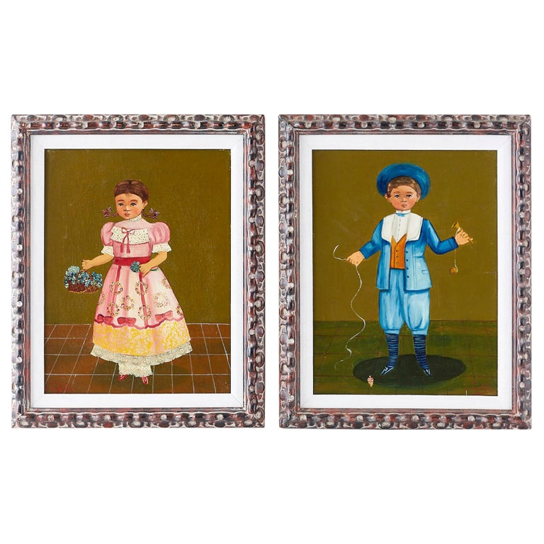 Agapito Labios Boy and Girl Mexican Folk Art Paintings
