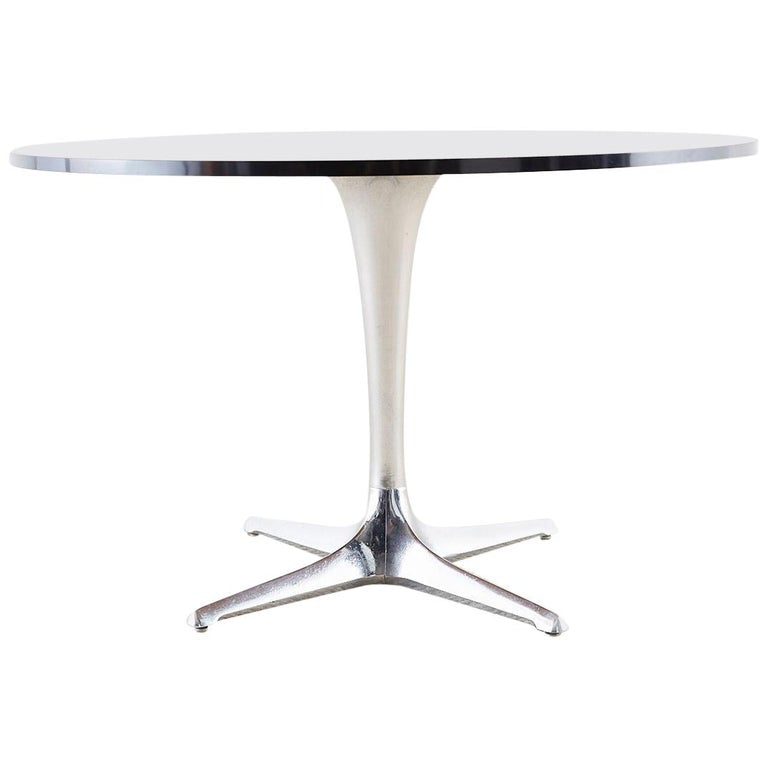 Chromcraft Midcentury Polished Aluminum Laminate Dining Table