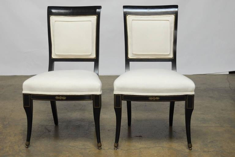 ... Pair Of English Regency Black Lacquer Chairs By Baker ...