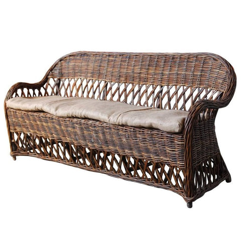 Bar Harbor Style Rattan and Wicker Sofa