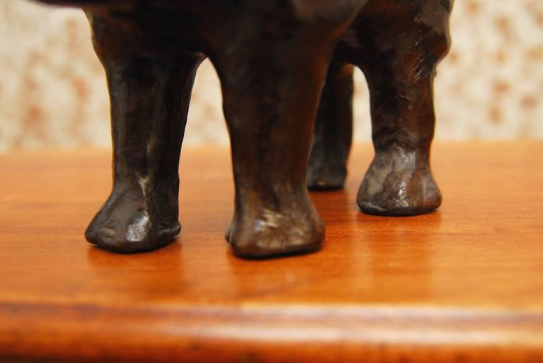 Mid-Century Leather Wrapped Rhino Sculpture