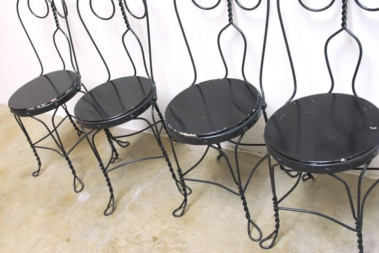 ... Set Of Four Metal Bistro Or Ice Cream Parlor Chairs ...