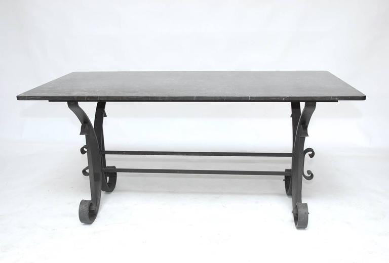 Italian Wrought Iron and Black Marble Dining Table Erin Lane Estate