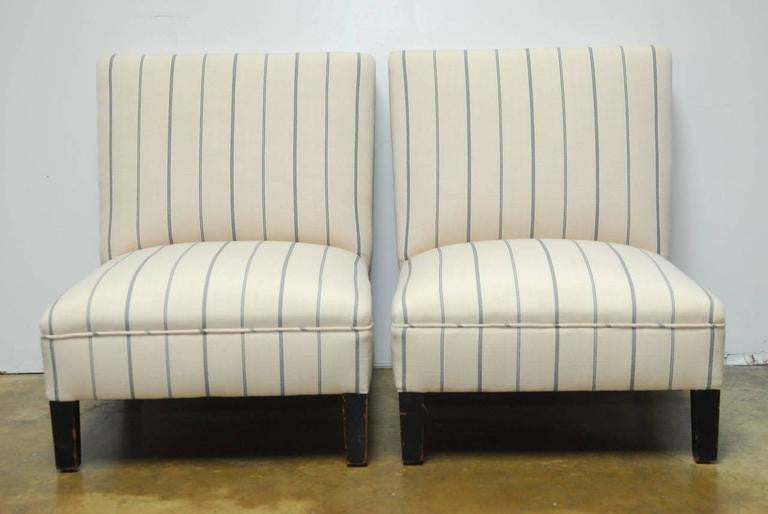 Marvelous ... Pair Of French Linen Striped Slipper Chairs