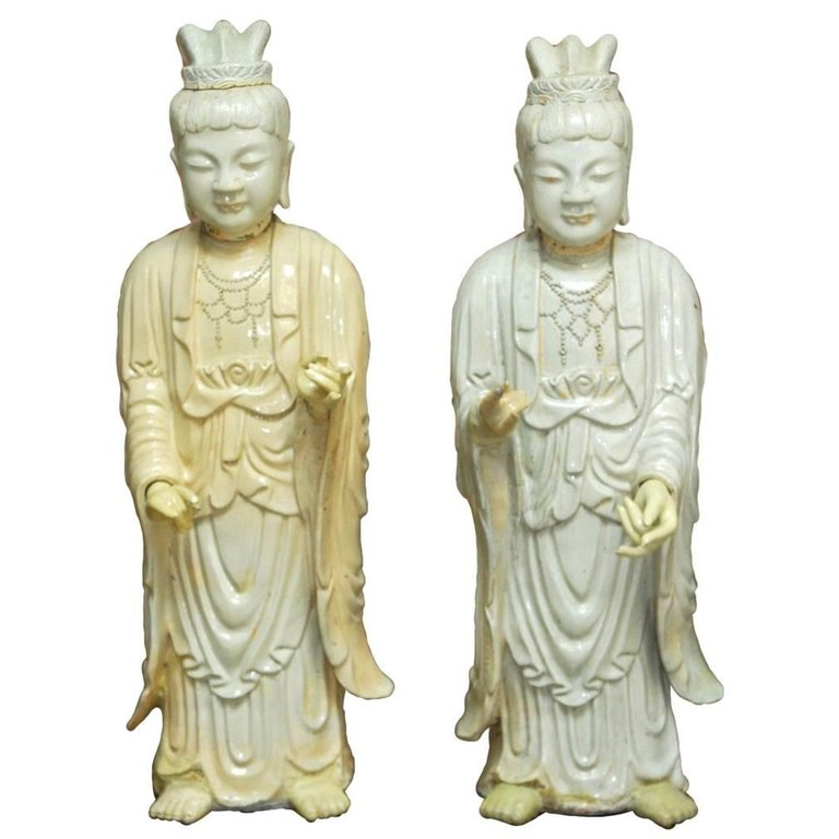 Pair of Chinese Glazed Ceramic Celestial Deities