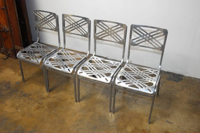 ... French Aluminum Eiffel Tower Chairs By Gallerie For Slavik ...