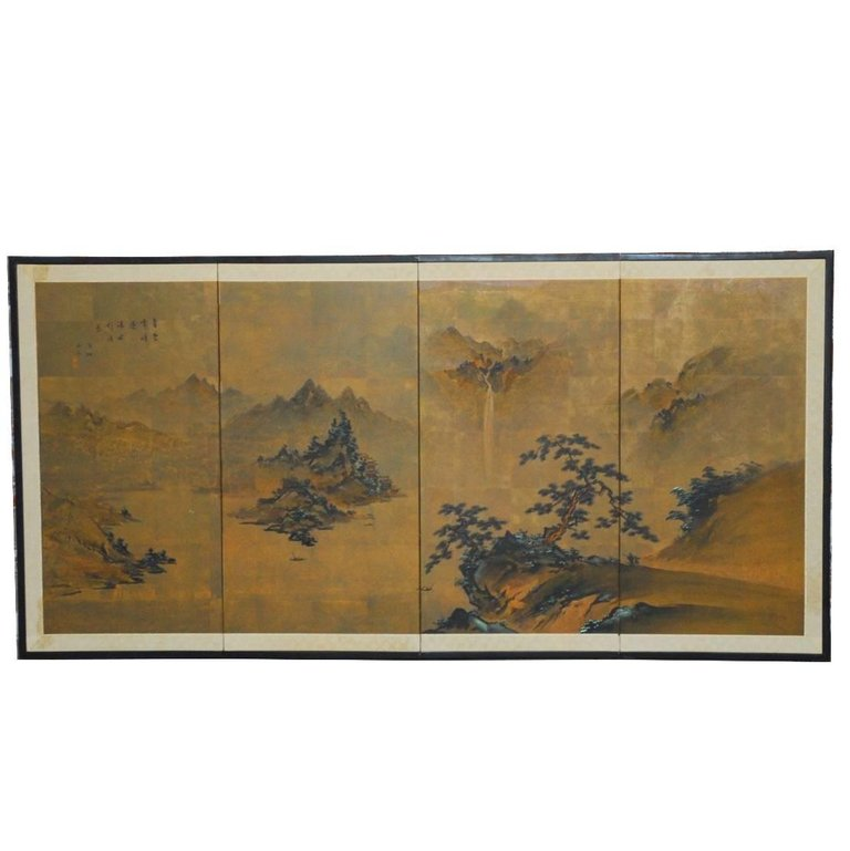 Japanese Four Panel Painted Landscape Byobu Screen