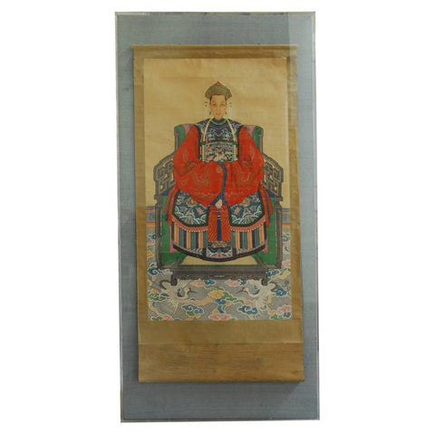 Monumental Chinese Ancestral Matriarch Scroll Portrait Painting