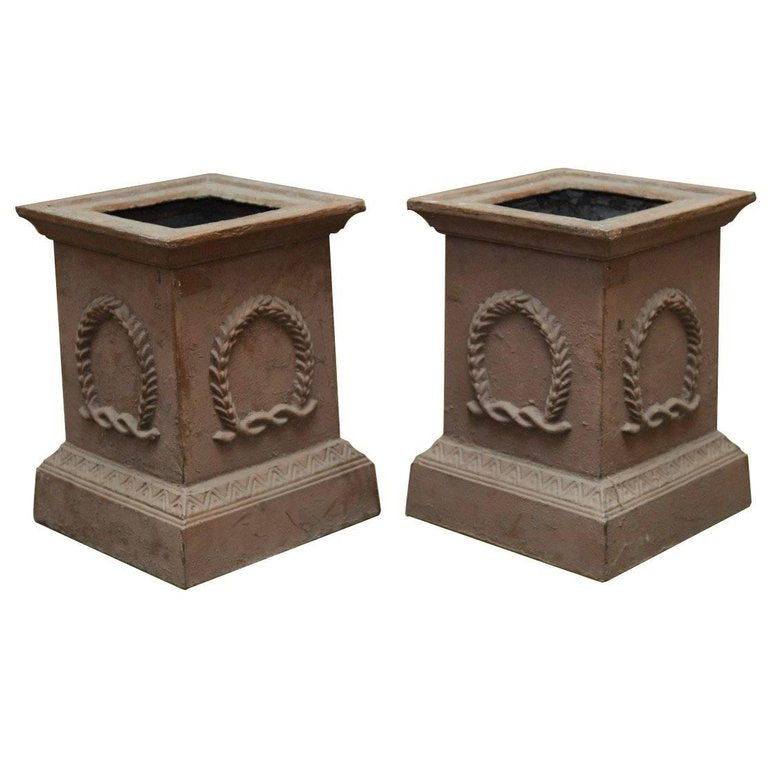 Pair of Neoclassical Cast Iron Pedestals or Urns