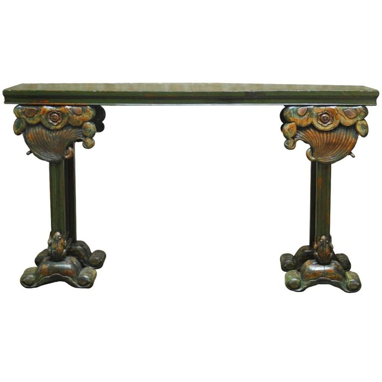 Chinese Lacquered Altar Table with Carved Lotus Blossoms