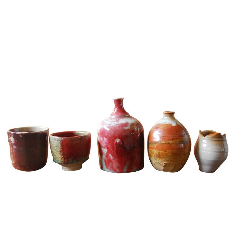 Assembled Diminutive Glazed Pottery - Set of 5