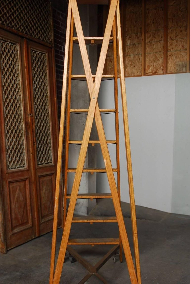 English Style Oak Library Ladder Staircase