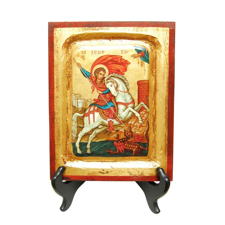 St. George and the Dragon Gold Painted Icon