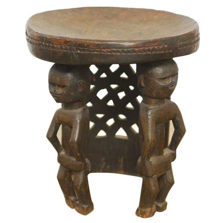 African Carved Tribal Stool with Figural Legs