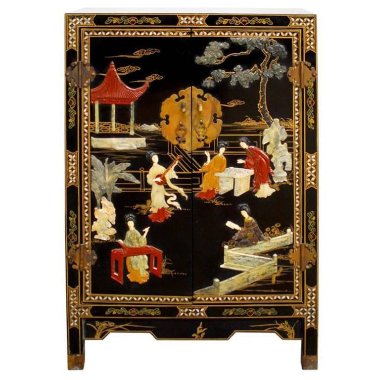 Chinese Black Lacquer Hardstone Cabinet