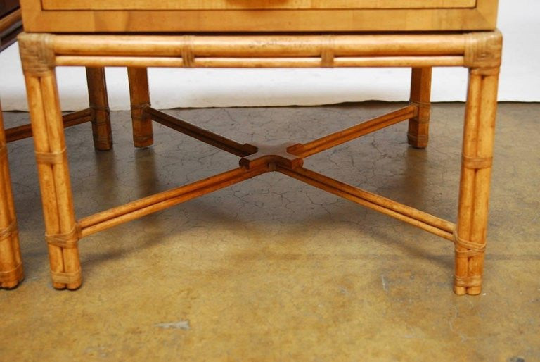 Pair Of Mid Century Faux Bamboo End Tables By Henredon