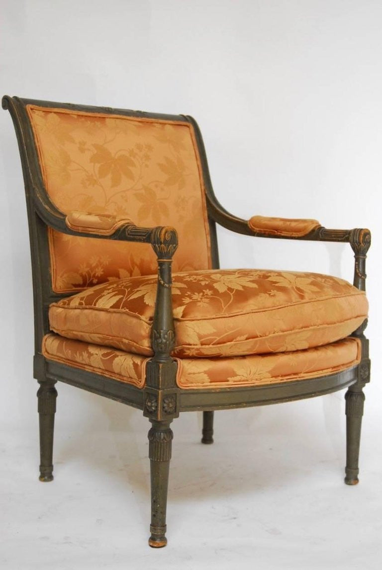 Pair Of Louis XVI Painted Directoire Style Fauteuil Armchairs Erin - Fauteuil style