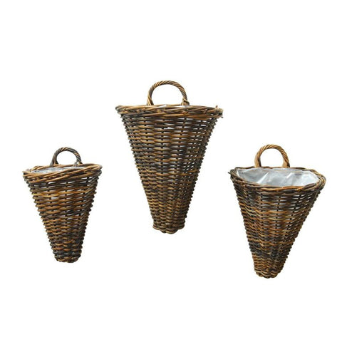 Rustic Woven Wall Baskets- Set of 3