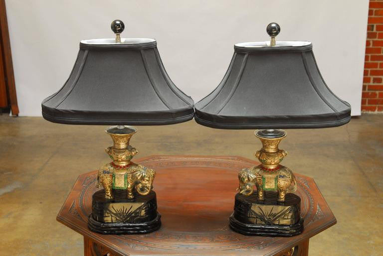... Pair Of Thai White Brass Elephant Table Lamps ...