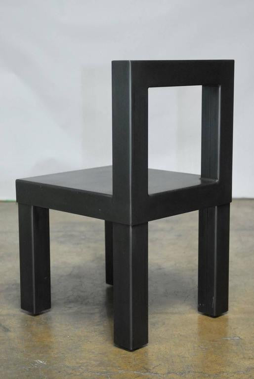 Set of Four Gunmetal Grey Steel Modern Industrial Dining Chairs