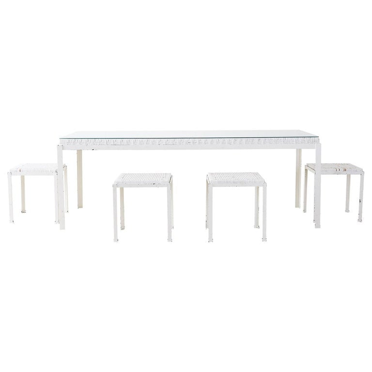 Danny Ho Fong California Modern Woven Cane Dining Table
