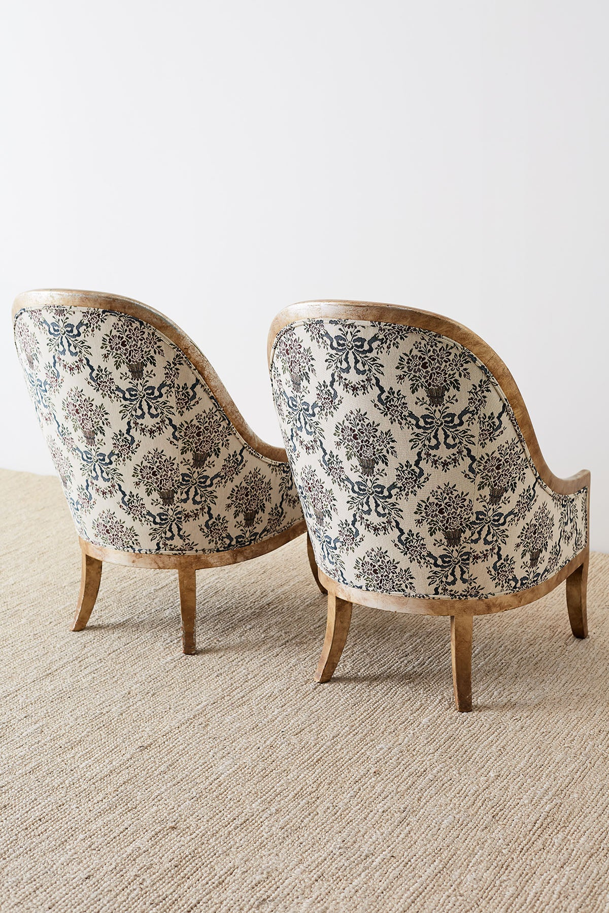 Mid-Century Spoon Back Gilt Lounge Chairs