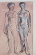 Midcentury Figural Nude Watercolor After Concetta Scaravagilone
