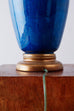 Marbro Hollywood Regency Blue Glazed Porcelain Lamp