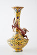 Pair of Chinese Cloisonné Dragon Mounted Yellow Vases
