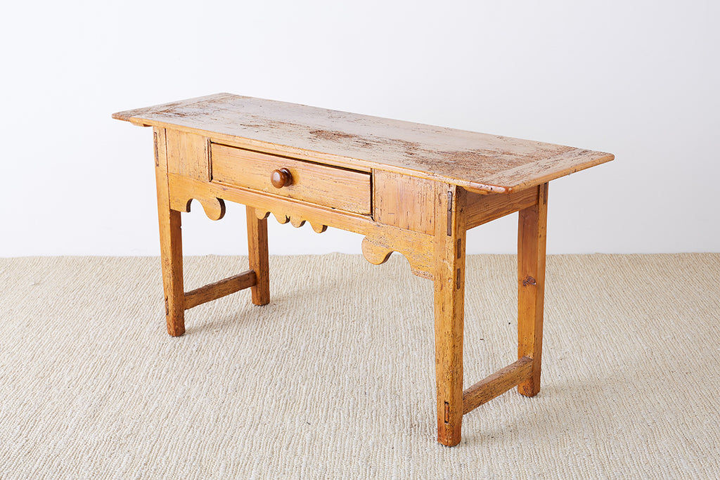 18th Century Rustic Pine Farmhouse Table or Console - Erin Lane Estate