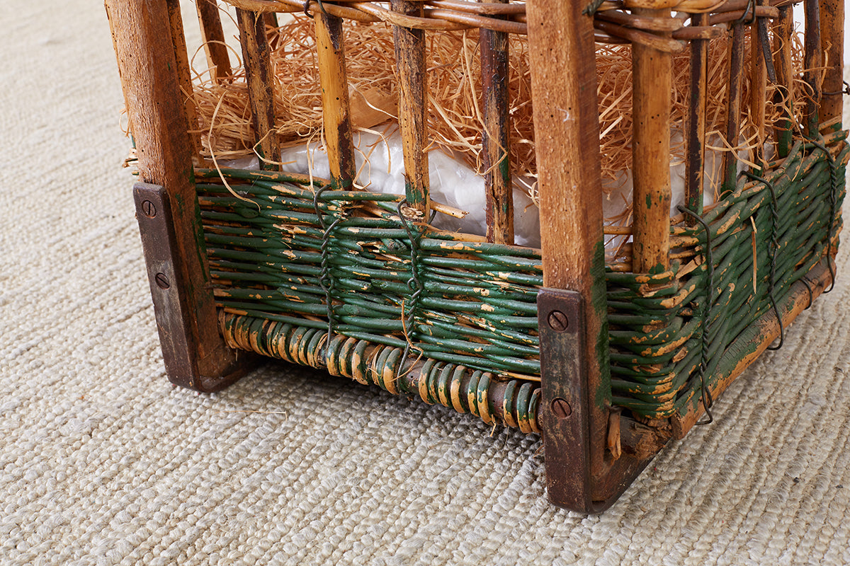 19th Century French Wicker Harvest Display Basket