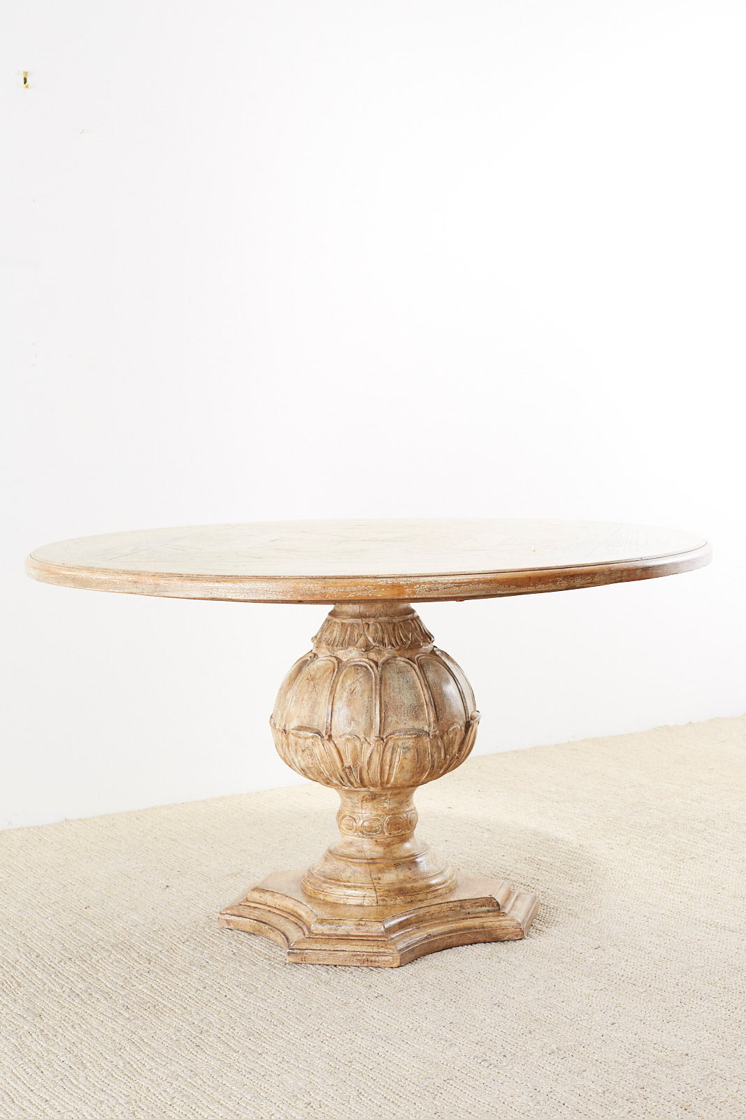 Italian Oak Neoclassical Round Dining or Centre Table