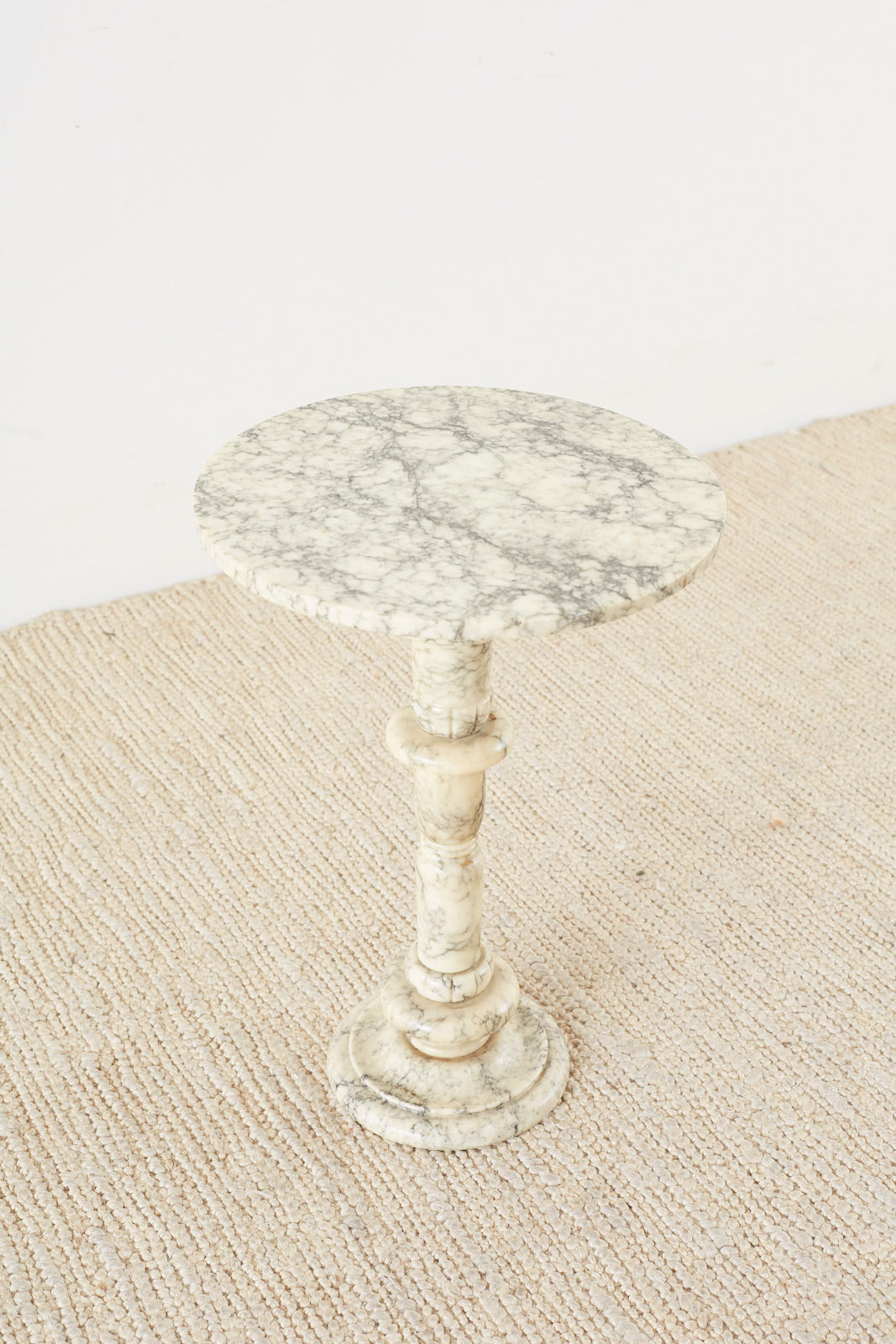 Italian Marble Neoclassical Pedestal Drink Table