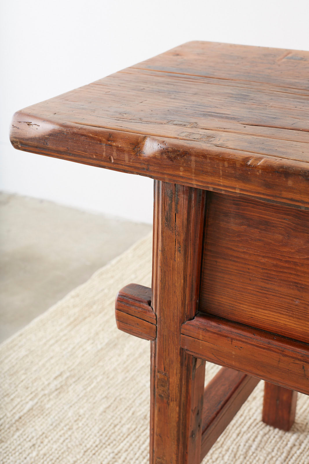 Chinese Elm Three-Drawer Trestle Style Altar Table