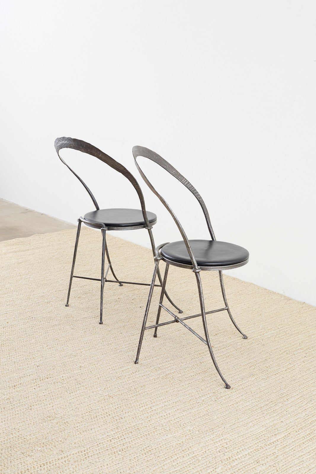 Pair of Giovanni Banci Mid-Century Sculptural Iron Chairs