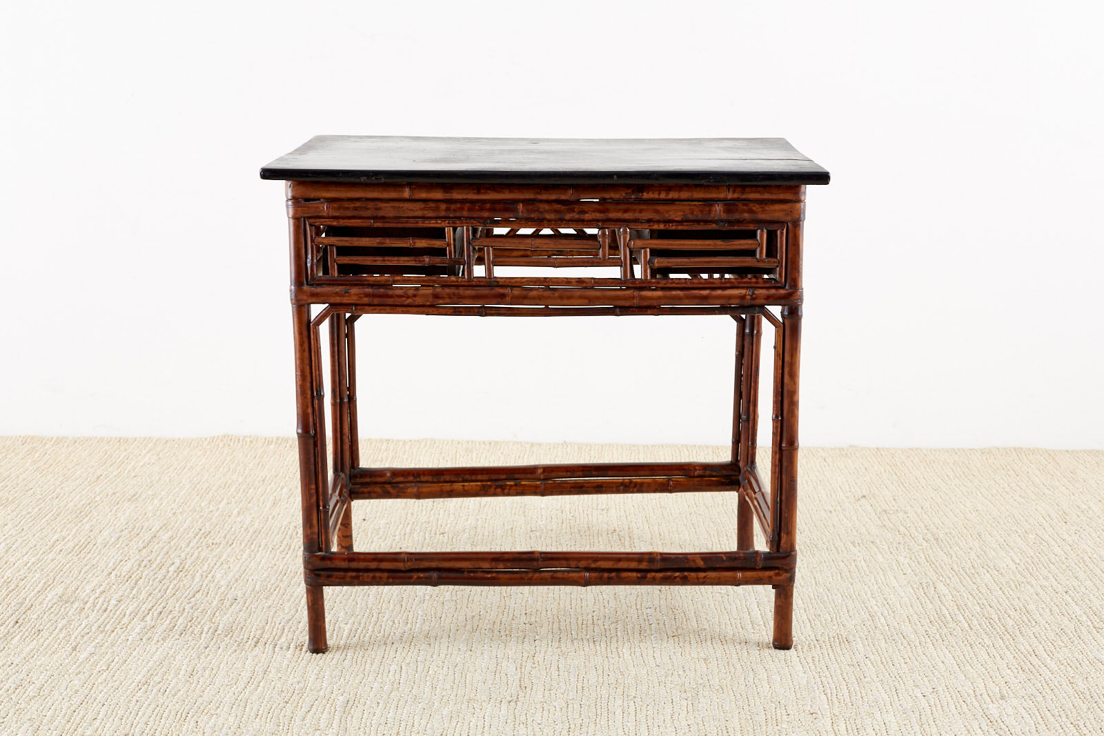 English Chinese Chippendale Chinoiserie Style Bamboo Library Table
