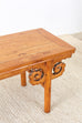 Chinese Qing Style Carved Elm Altar Table or Bench